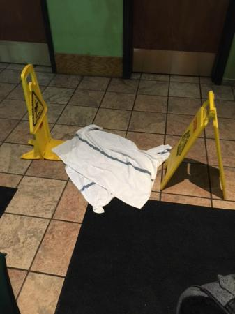 Ramada Sioux Falls Airport Hotel & Suites: Vomit after we put signs up