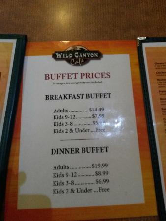 Wilderness Resort: Buffet prices