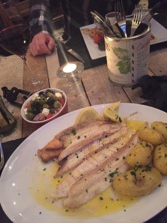 Gambas: Dover sole off the bone, Greek salad, new potatoes and garlic butter