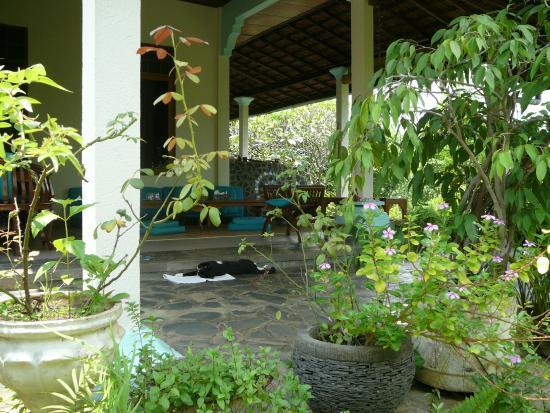 Sananda Bungalows: die schöne Terrasse dient den Gästen als Speisesaal