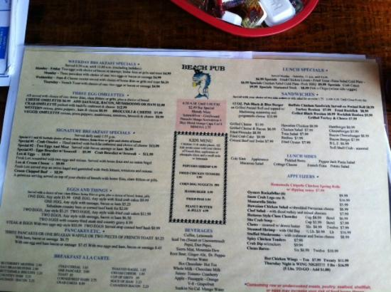 Beach Pub Menu