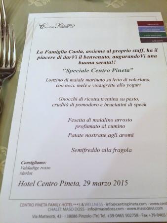 Centro Pineta Family Hotel & Wellness: Un menù dell'Hotel Centro Pineta