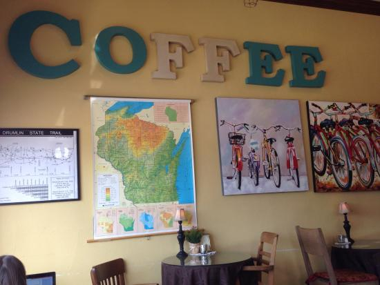 Mama D's Coffee: Cafe wall decor.