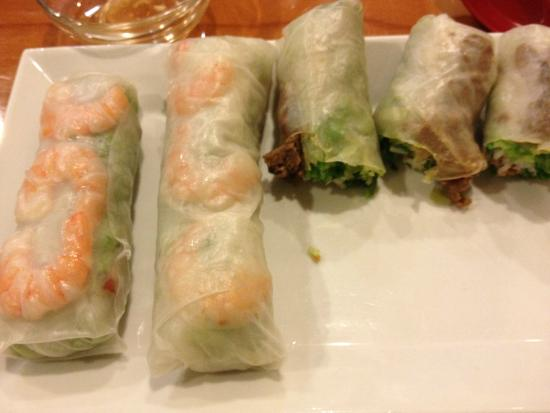 Viet Pho: Shrimp and Beef Spring roll. Sorry started to eat before picture...