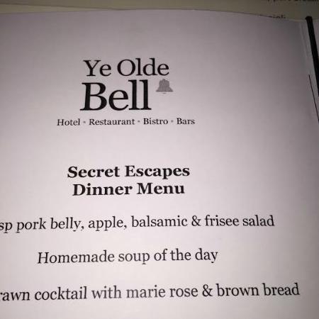 Ye Olde Bell Hotel & Restaurant: Secret Escapes menu