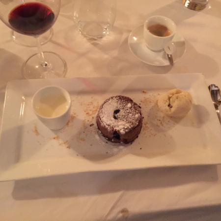 Cavalier: Chocolate Volcano Cake - the best course if the night!