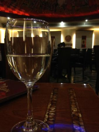 Kwality Restaurant: lovely view with water-glass