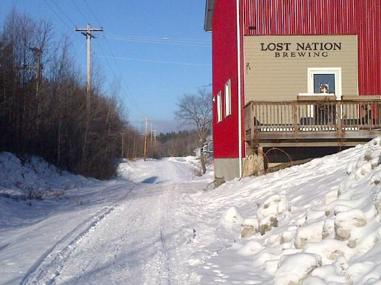 Lamoille Valley Rail Trail: Rail Trail Passing Lost Nation Brewery, Morrisville, Vt.