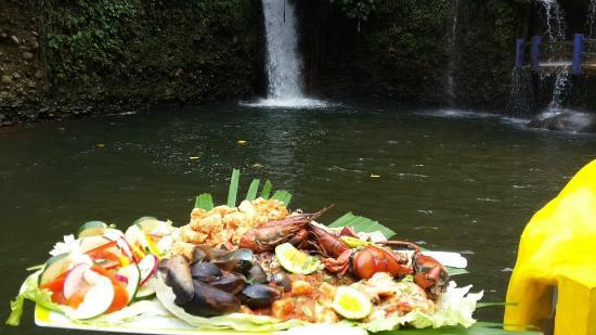 Kashama Eco Resort and Spa: Mariscada en la cascada antural