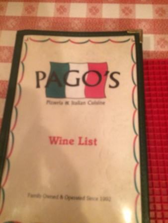 Pago's Pizzeria & Italian Cuisine: Wine list