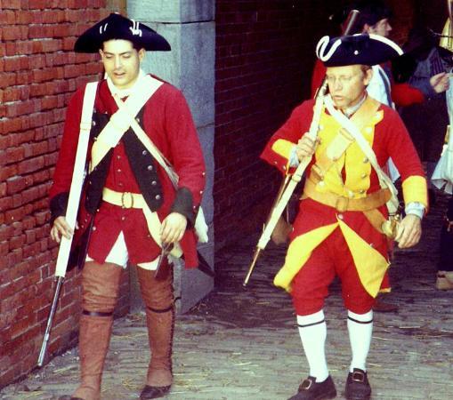 Fort Ligonier: Recreación histórica. Los soldados británicos (foto antigua).