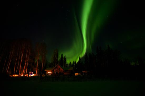Riverbend Log Cabins & Cottage Rentals: Northern Lights over the Property