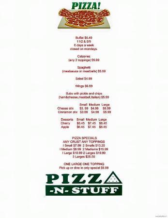Pizza-N-Stuff: Menu