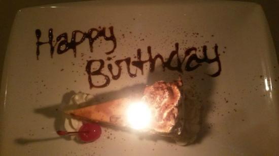 Complimentary birthday cheesecake