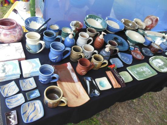 Captain Cook, HI: Hand made pottery is offered at this market by artists