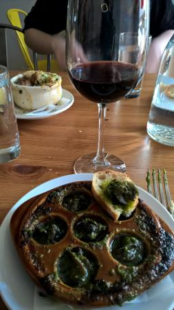 Brasserie Four: Escargot and French Onion Soup.