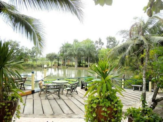 Wang Nam Yen, Thailand: Dining area overlooking the fish pond.