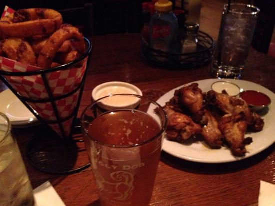 The Ugly Dog Pub: Onion rings, baked wings, dirty blonde ale