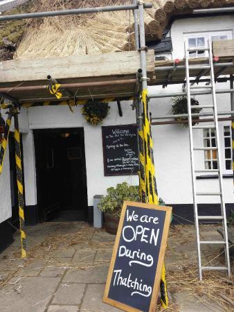 The Old Inn Kilmington: Old Inn - Thatching in Progress!