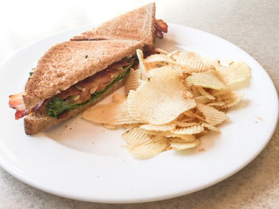 The Brownstone House of Guilford: BLT with Avocado on whole wheat, lightly toasted with a splash of mayo...