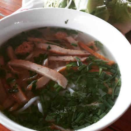 Nam Chau Resort: Pool and Banh Canh Cha Ca for Breakfast