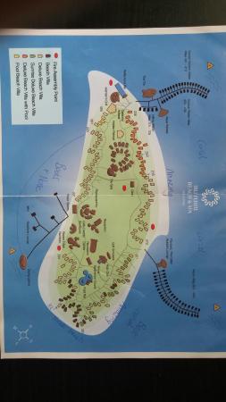 Iru-fushi: Island map, Villa layout