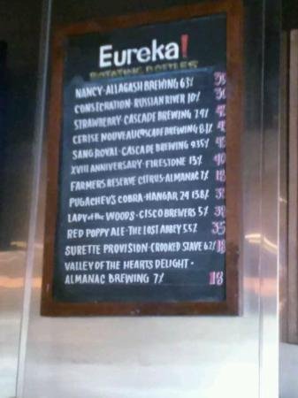 Eureka Burger: Craft Beer Menu
