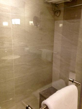 Shower room with seating area