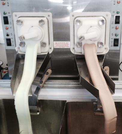 Kline's Dairy Bar: Mint Chocolate Chip and Chocolate Ice cream being made from our Leon machine.