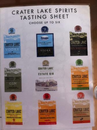 Bend Distillery : List of tastings to choose from