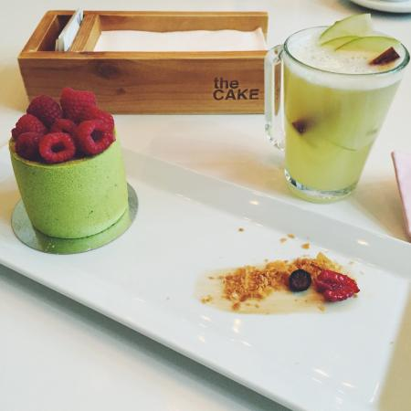 Raspberry-pistachio dessert and ginger tea with lemon - Picture of The ...