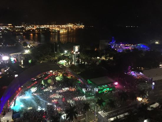 Yve Hotel Miami View From Our Floor Onto Ultra Music Festival