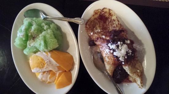Simply Tasty Thai: Mango and sticky rice, ice cream crepe with sauce