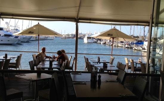 View of Restaurant overlooking the Yacht Club Marina.