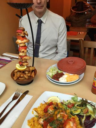 Tia's: Hanging kebab and king prawn and Mexican rice