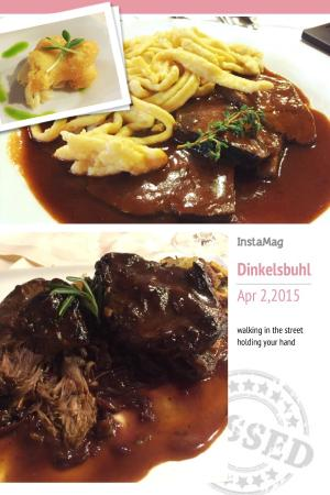 Hotel Deutsches Haus: Free snacks, deer shoulder, pork with noodle