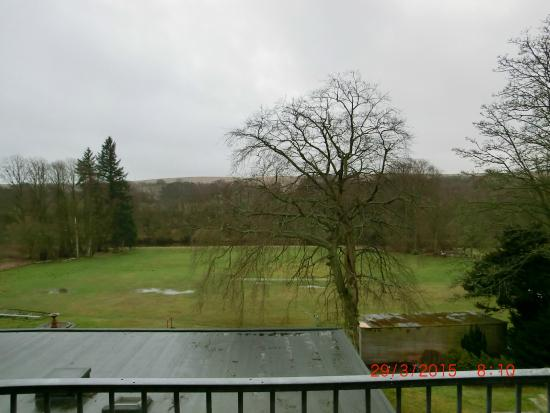 View of balcony, cricket ground and North Tyne