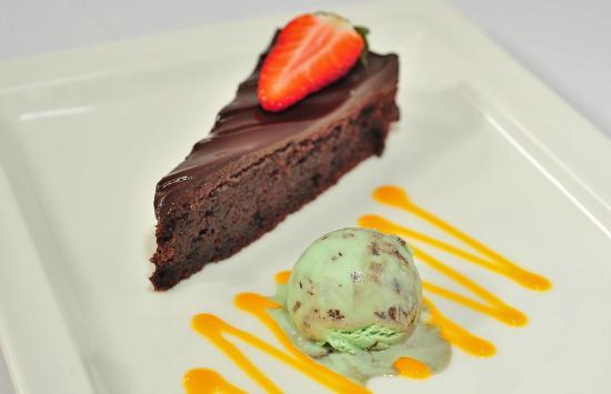 Deerfields Restaurant: Chocolate Tart, with Mint Ice Cream