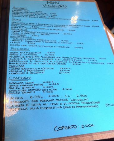 Osteria Vinandro: menù