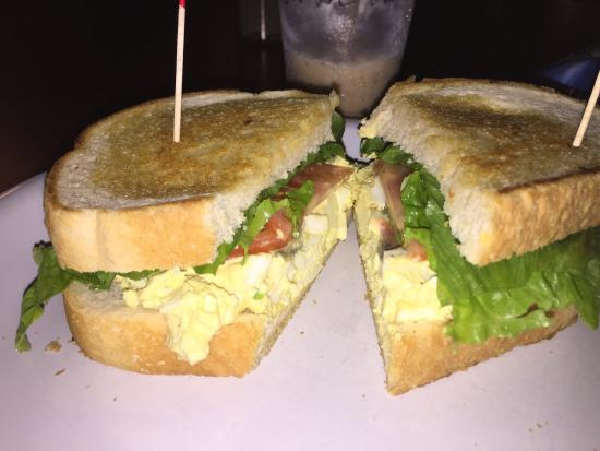 Cafe Mark: This day's special: egg salad with bacon and avocado on amazing sourdough bread!