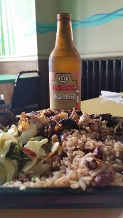 The Jerk Pit : Lunch: Ginger Beer from Jamaica,  jerk chicken ( quarter dark meat), rice and peas and vegetable
