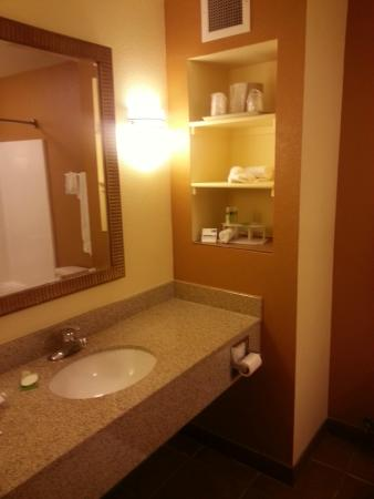 Holiday inn Express & Suites Hesperia: Bathroom, check.  Clean, new fixtures,
