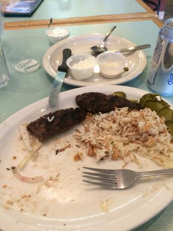 Beirut Restaurant: Ground lamb with rice.