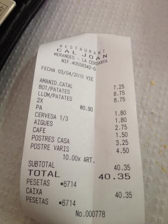 Restaurante Cal Joan: Factura