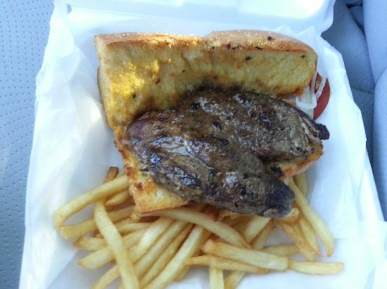 Nicky D's Pizza: Garlic bread steak sandwich with french fries  - Take Out