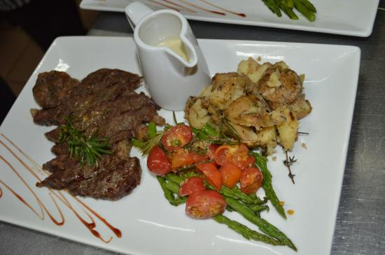 Butter Fish: NY Strip Steak with Roasted Potatoes and Asparagus/Cherry Tomatoes