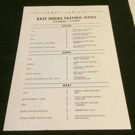 East Indies : Tasting menu