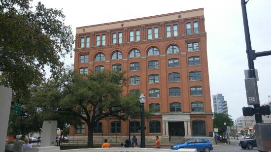 The Sixth Floor Museum: Former Texas School Book Depository. Shots came from second window from the top on the right