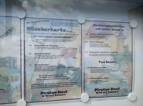 Piraten-Nest: Die Speisekarte mit den Preisen