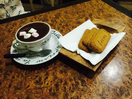 The delicious hot chocolate